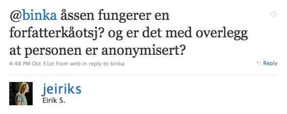 @binka åssen fungerer en forfatterkåotsj? og er det med overlegg at personen er anonymisert?